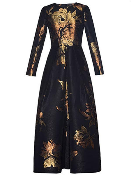 Vintage O-Neck Big Hem Print Maxi Dress Without Belt
