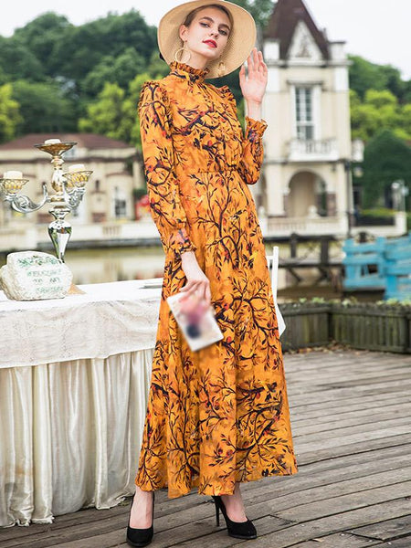 Stand Collar Long Sleeve High Waist Print Maxi Dress