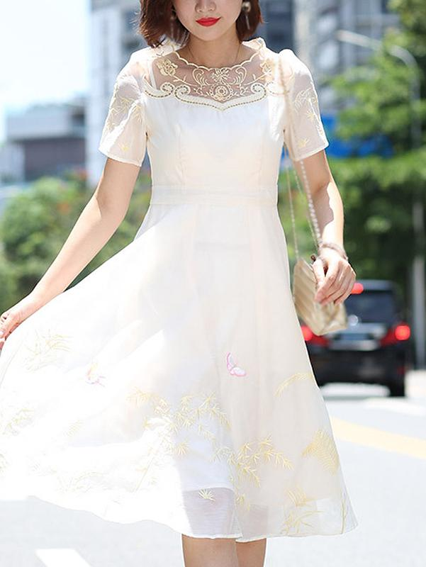 Embroidery O-Neck Short Sleeve Fit & Flare Dress