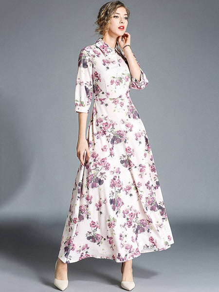 Puff Sleeve Turn-Down Collar Gathered Waist Floral Dress