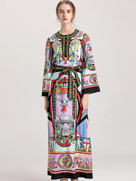 Vintage O-Neck Flare Sleeve Lacing Print Maxi Dress