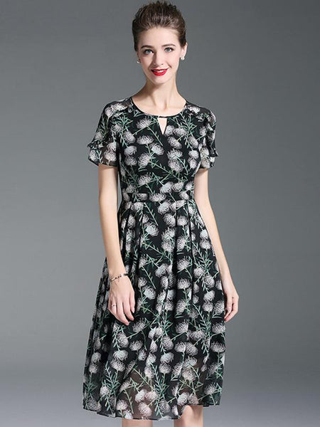 Chiffon O-Neck Short Sleeve Print Fit & Flare Dress