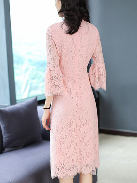 Flare Sleeve Stand Collar Lace A-Line Dress