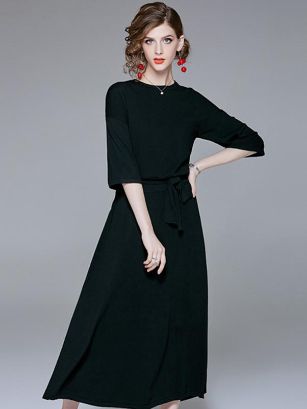 Black O-Neck Half Sleeve Big Hem Maxi Dress