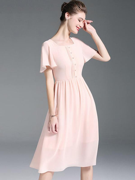 Chiffon Square Neck Short Sleeve Skater Dress