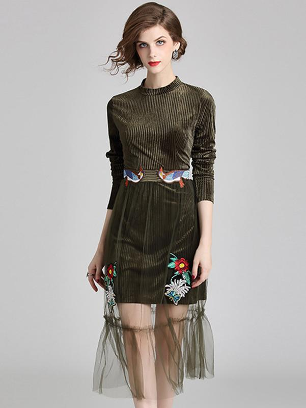Embroidery Velour Stitching Stand Collar Long Sleeve A-Line Dress