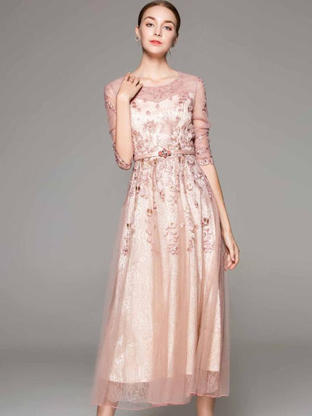 Embroidery O-Neck 3/4 Sleeve Beaded Party Maxi Dress