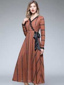 Lace V-Neck Long Sleeve Lacing Big Hem Maxi Dress
