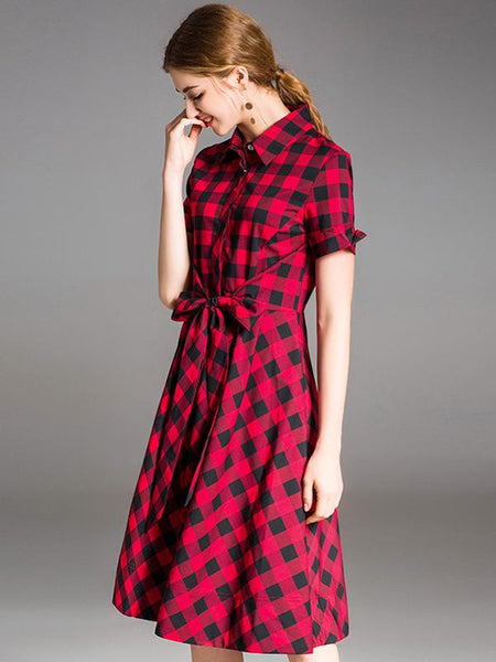 Plaid Turn-Down Collar Short Sleeve Skater Dress
