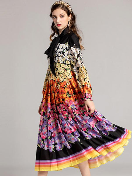 Multicolor Long Sleeve Lacing Pleated Skater Dress