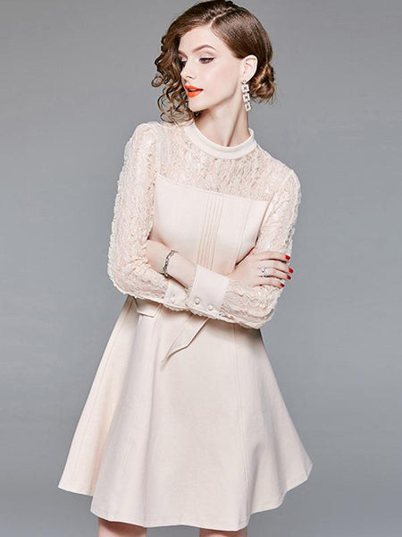 Lace Stitching Stand Collar Lacing Skater Dress