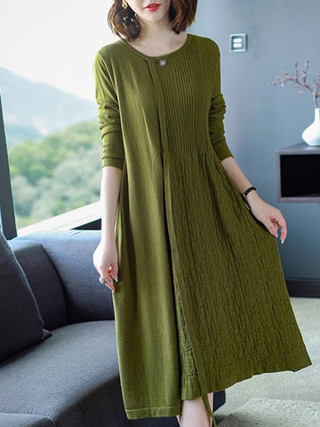 Pure Color O-Neck Long Sleeve Pleated Shift Dress