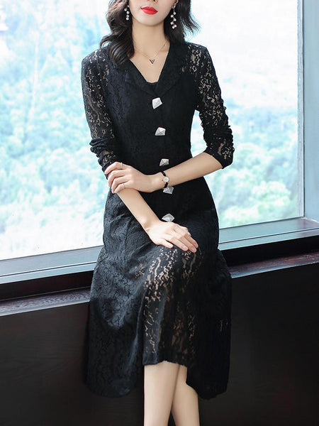 Lace Hollow Out Lapel Collar Long Sleeve A-Line Dress