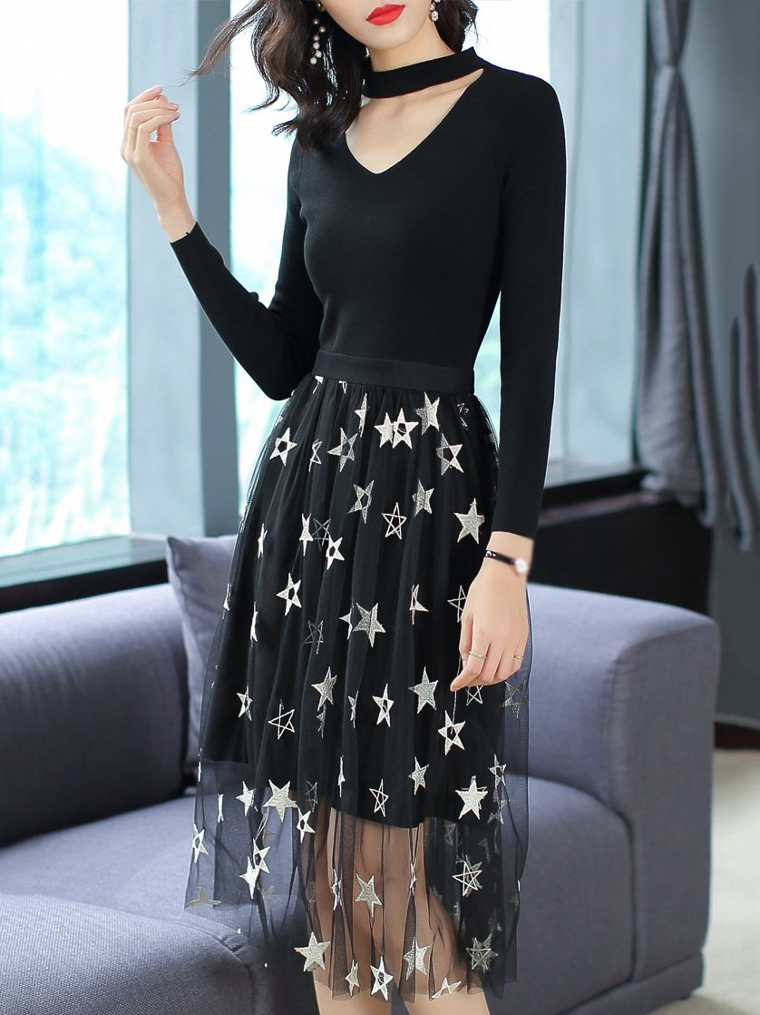 Star Pattern V-Neck Long Sleeve Mesh Skater Dress