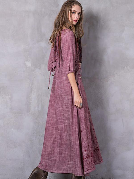 Pink O-Neck Half Sleeve Embroidery Maxi Dress