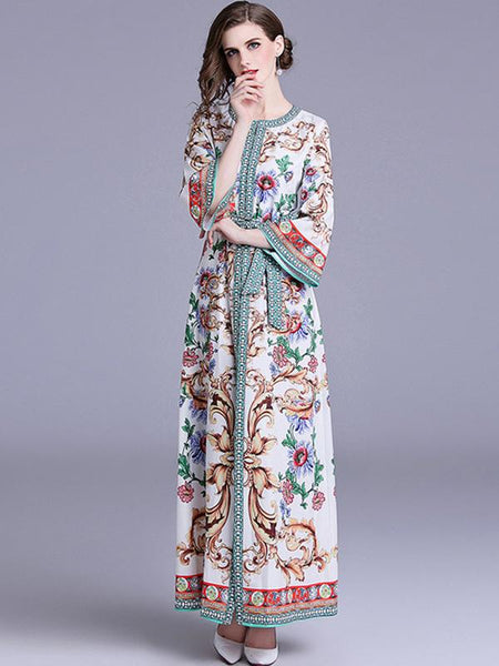 O-Neck Flare Sleeve Lacing Print Maxi Dress