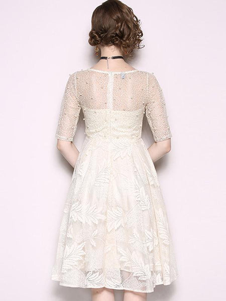 Half Sleeve O-Neck Embroidery Beaded Skater Dress