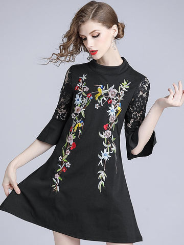 Embroidery Stand Collar Flare Sleeve Shift Dress