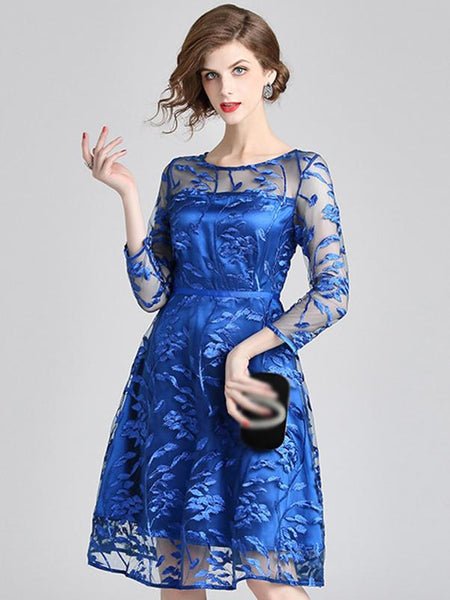 Embroidery O-Neck Long Sleeve Mesh Skater Dress