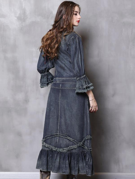 Denim Stand Collar Long Sleeve Pocket Maxi Dress