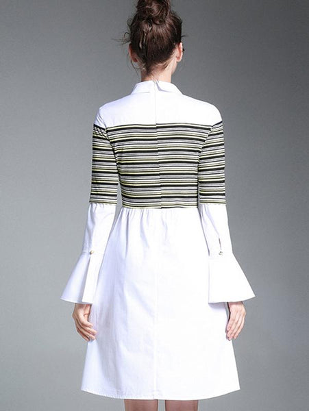 Stripe Stitching Turn-Down Collar Flare Sleeve A-Line Dress
