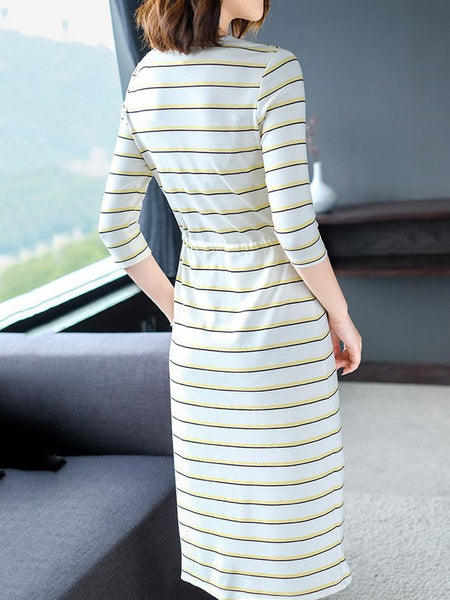 Stripe V-Neck Long Sleeve Lacing A-Line Dress