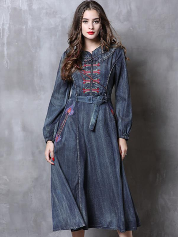 Embroidery Denim Belted Long Sleeve Maxi Dress