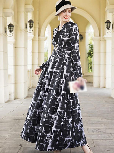 V-Neck Long Sleeve Big Hem Print Maxi Dress