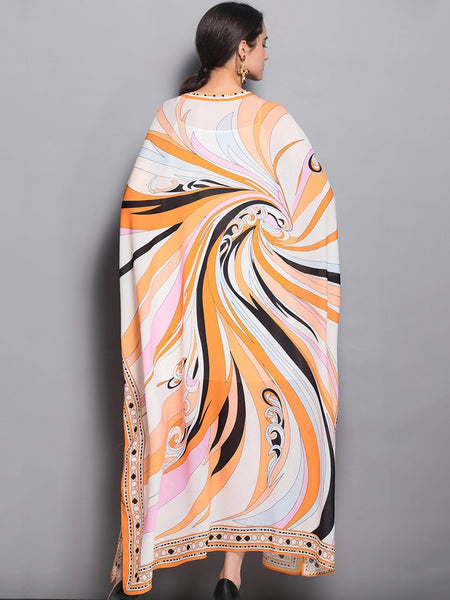 Loose O-Neck Batwing Sleeve Print Maxi Dress