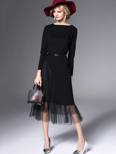 Irregular Stitching O-Neck Mesh A-Line Dress