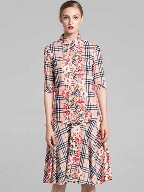 Plaid Turn-Down Collar Half Sleeve Print Skater Dress