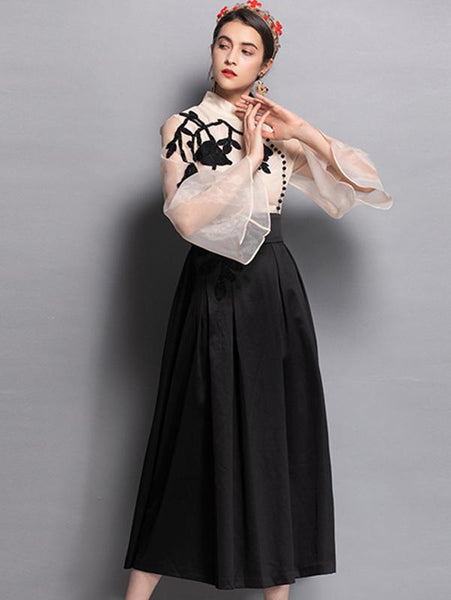 Embroidery Stand Collar Flare Sleeve Beaded Maxi Dress