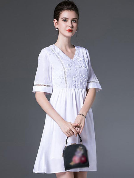 White V-Neck Short Sleeve Hollow Out A-Line Dress