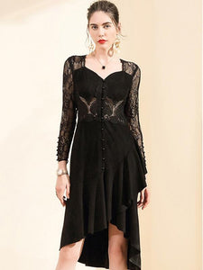 Irregular Lace V-Neck Long Sleeve A-Line Dress