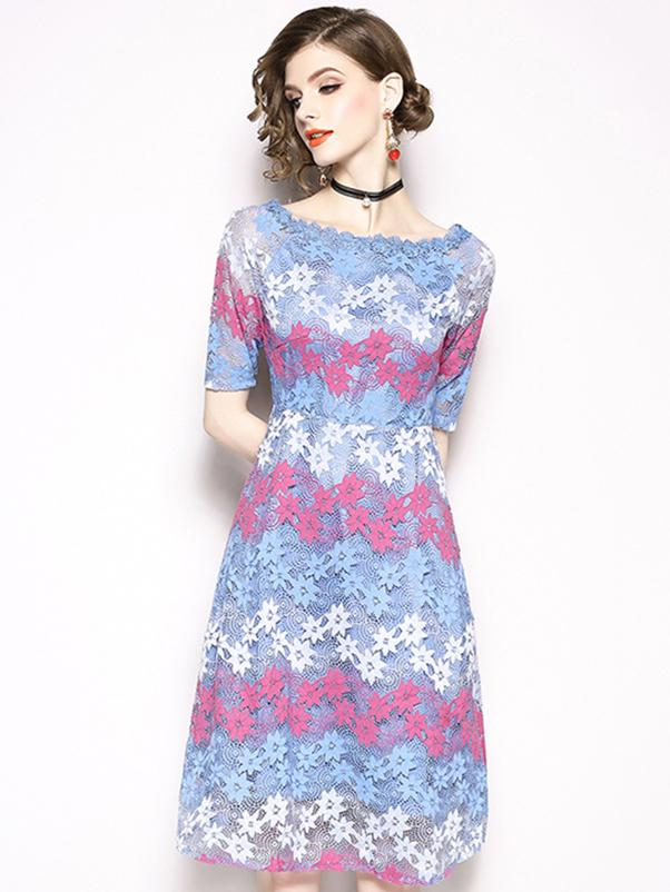 Embroidery Lace Boat Neck Short Sleeve Skater Dress
