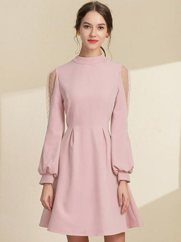 Stitching Puff Sleeve Stand Collar Skater Dress