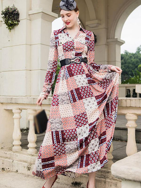 Plaid Turn-Down Collar Long Sleeve Maxi Dress With Belt