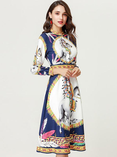 O-Neck Long Sleeve Print Fit & Flare Dress