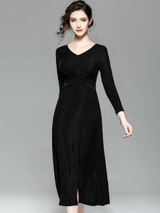 Elastic V-Neck Long Sleeve Paillette Maxi Dress