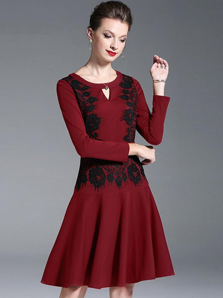 Hollow Out Lace O-Neck Long Sleeve Skater Dress