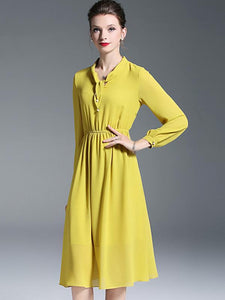 Yellow Chiffon Elastic Waist Long Sleeve Skater Dress