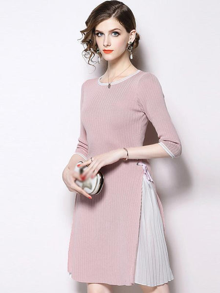 Stitching O-Neck 3/4 Sleeve Lacing Skater Dress
