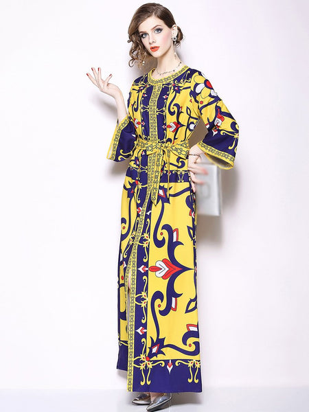 O-Neck Flare Sleeve Big Hem Lacing Maxi Dress