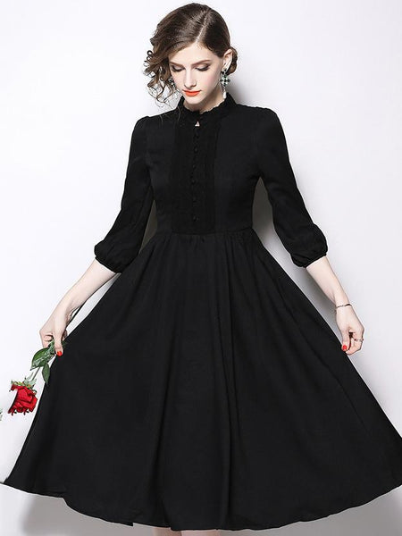 Stand Collar 3/4 Sleeve Big Hem Lace A-Line Dress