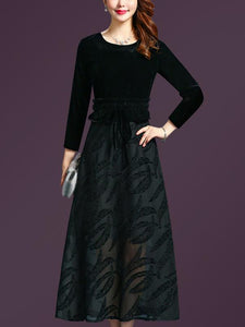 Stitching O-Neck Long Sleeve Mesh Maxi Dress