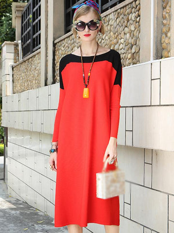 Hit Color O-Neck Long Sleeve Loose Sweater Dress