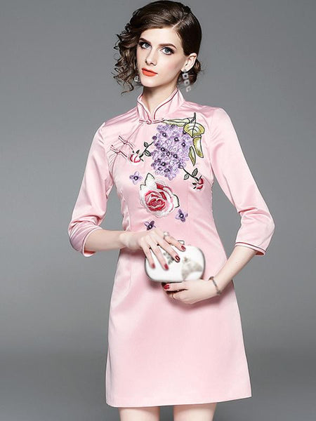 Stand Collar 3/4 Sleeve Embroidery A-Line Dress