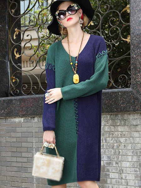 Hit Color V-Neck Long Sleeve Loose Sweater Dress