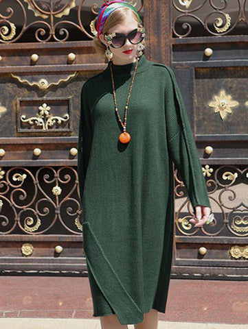 Stand Collar Long Sleeve Loose Sweater Dress