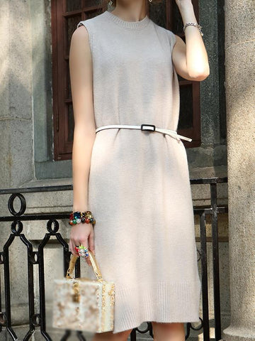 Stand Collar Sleeveless Sweater Dress With Belt